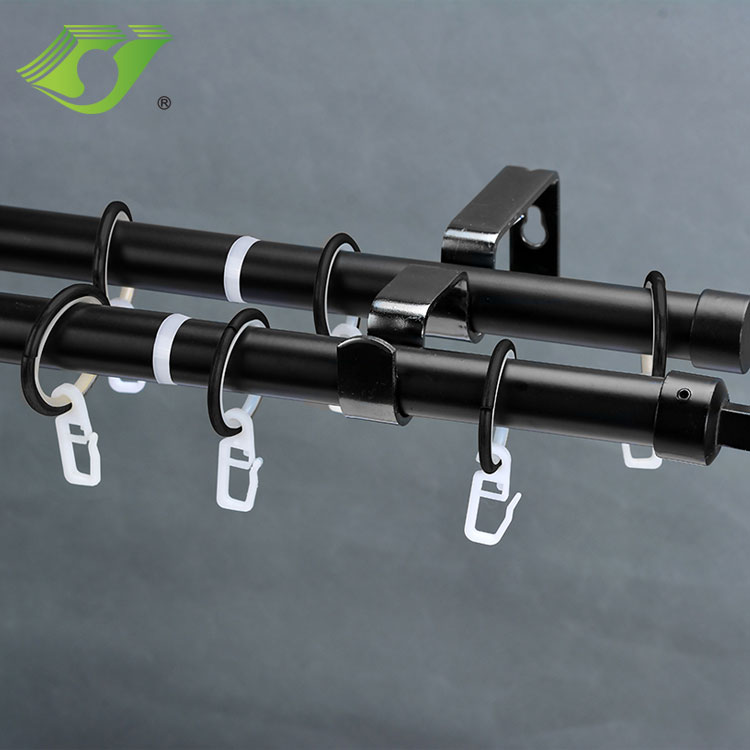 Promotion double bracket custom length window curtain pole wholesale luxury curtain accessories