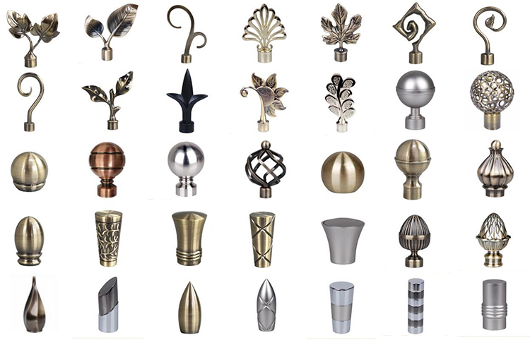 Decorative European style adjustable various kinds of double curtain rod with accessories