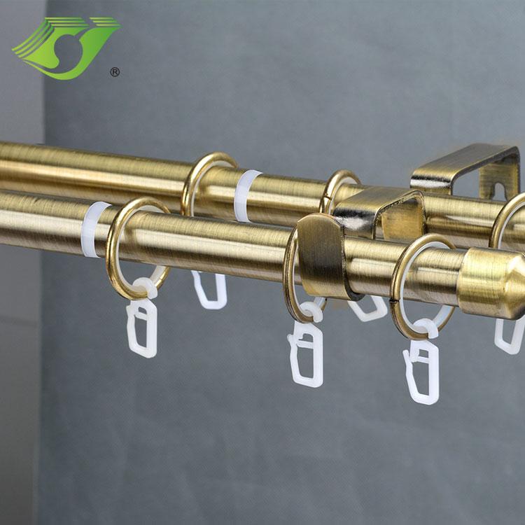 Elegant decoration leaf finial double window curtain rod pole set
