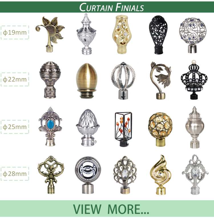 Luxury decorative hollow finial extendable iron curtain rod