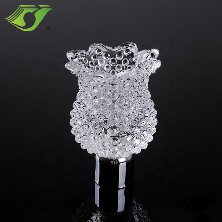 Modern decorative rose shape crystal finial curtain rods