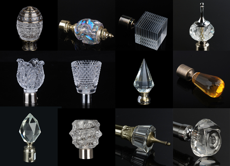 Stardeco Wholesale Home decorative crystal finial fancy swish curtain rods