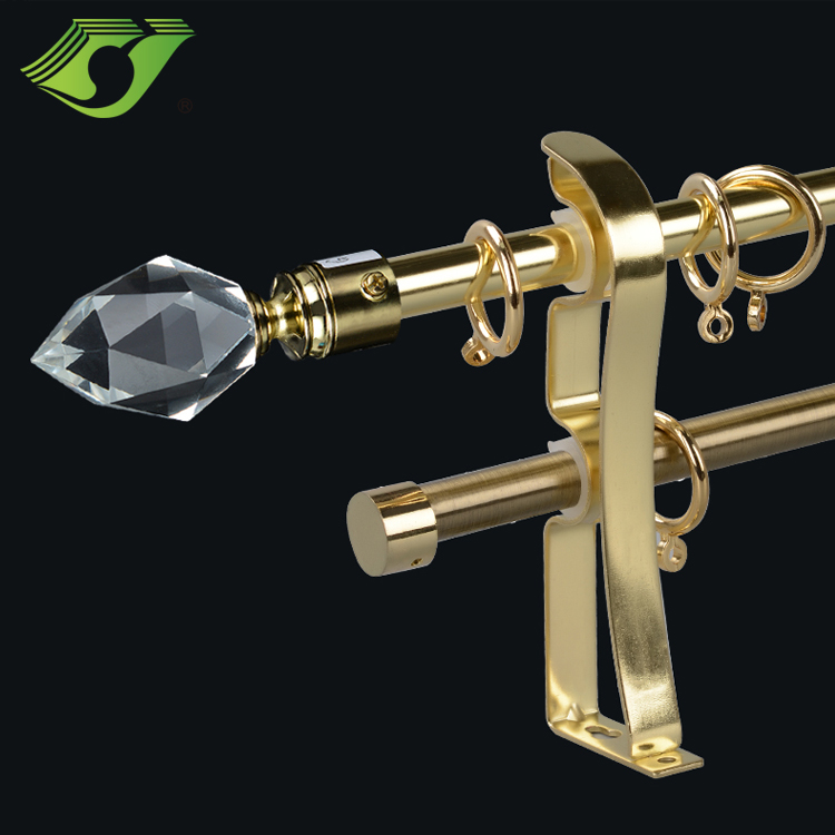Polished bay window curtain rod and rails with glass finial