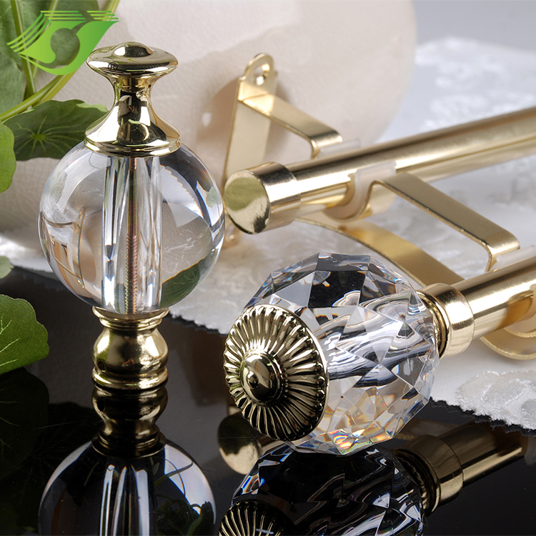 JNS Satin Nickel Curtain Pipe Glass Finial Curtain Rods Set