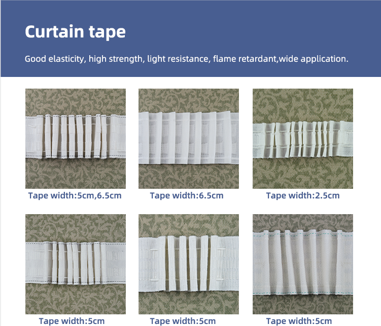 China supplier curtain accessories decorative pencil pleat curtain tape