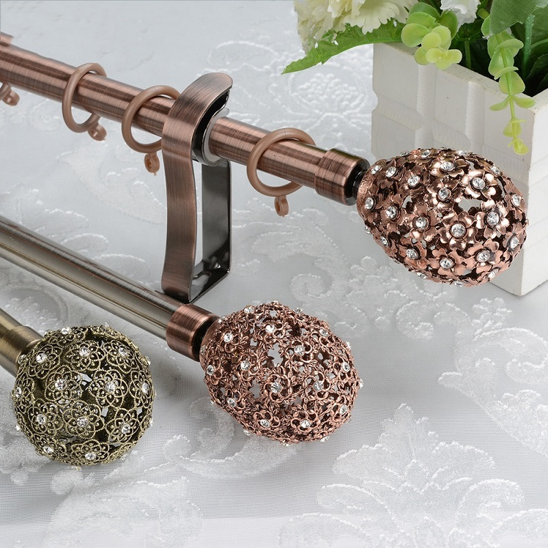 16/19mm Luxury decorative hollow finial extendable iron curtain rods
