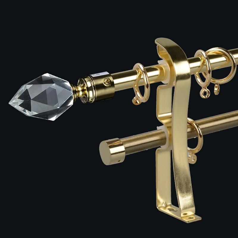 Hot selling Polished bay glass finial curtain rods set